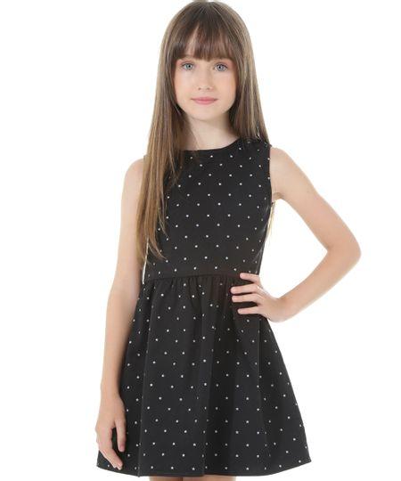 Vestido Estampado de Estrelas Preto