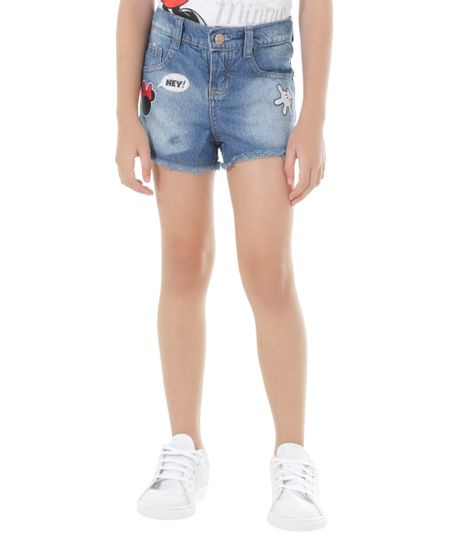 Short Jeans com Patchs Minnie Azul Claro