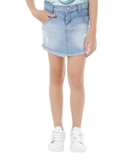 Short Saia Jeans Azul Claro