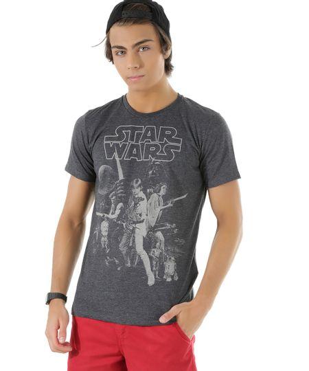 Camiseta Star Wars Cinza Mescla