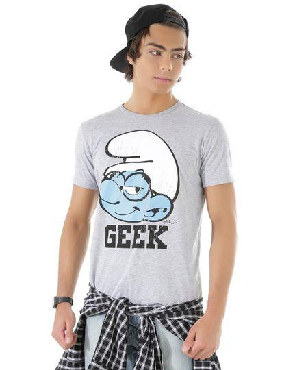 Camiseta Os Smurfs Cinza Mescla