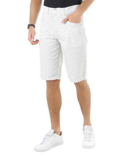 Bermuda Slim Listrada Branca