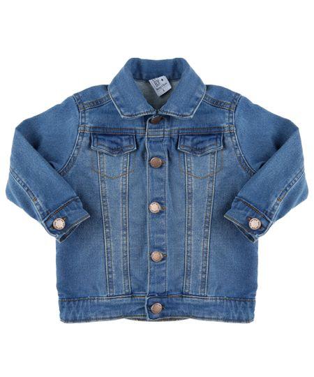 Jaqueta Jeans em Moletom Azul Médio