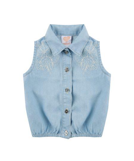 Regata Jeans com Bordado Azul Claro