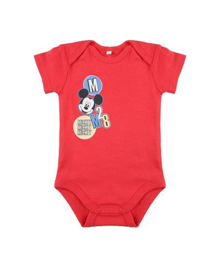 Body Mickey em Algodão + Sustentável Vermelho