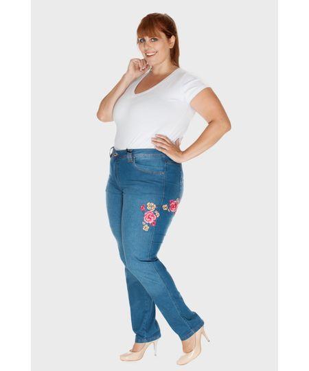 Calça Jeans Skinny Bordada Plus Size