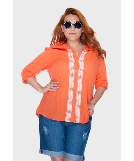 Camisa Social Laranja Plus Size