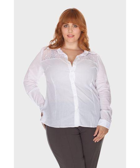 Camisa Branca Renda Plus Size