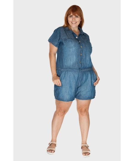Macaquinho Jeans Mali Plus Size
