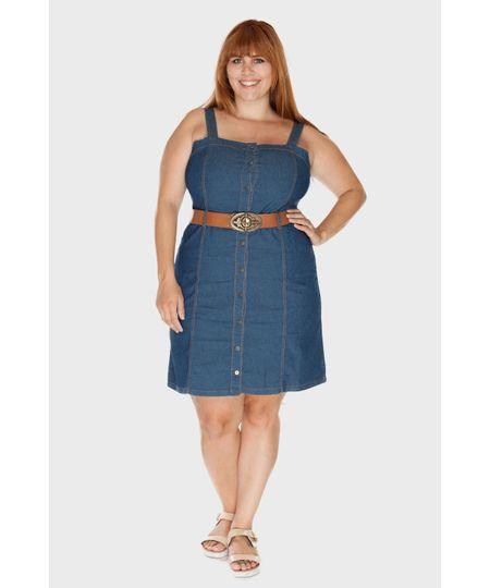 Vestido Jeans Vinil Plus Size
