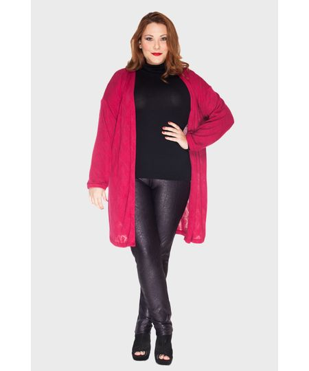 Cardigan Tricot Leave Plus Size