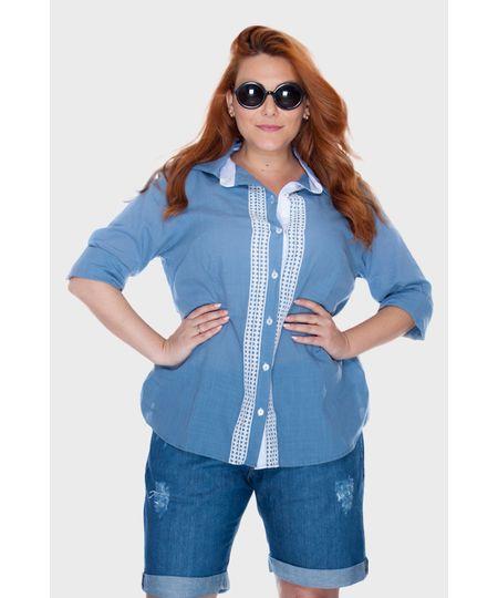 Camisa Azul Médio Plus Size