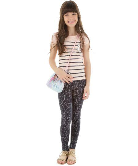 Conjunto de Blusa Rosa + Calça Legging Estampada Azul Marinho
