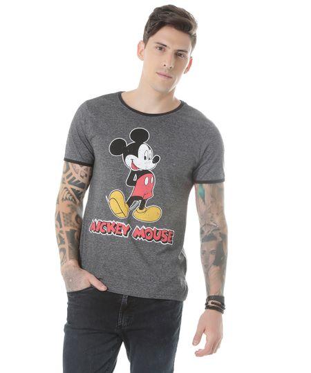 Camiseta Mickey Cinza Mescla Escuro