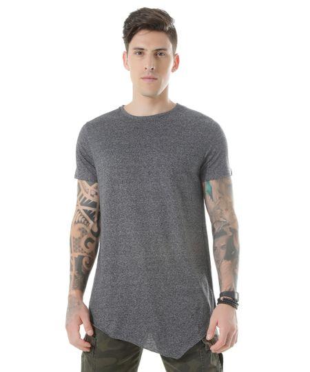 Camiseta Longa Básica Cinza Mescla