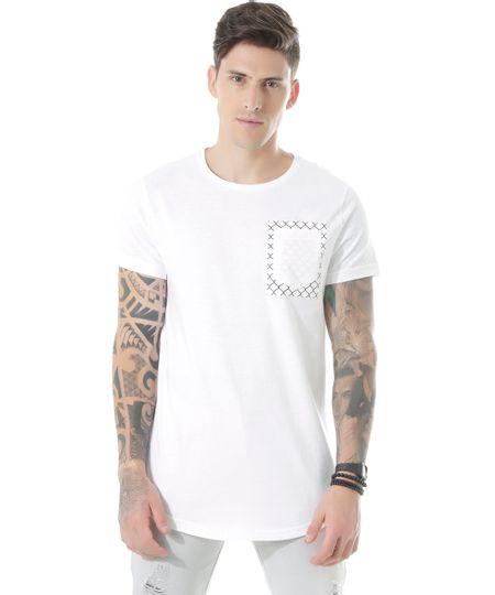 Camiseta Longa com Bolso Branca