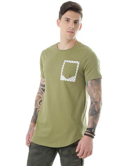 Camiseta Longa com Bolso Verde Militar