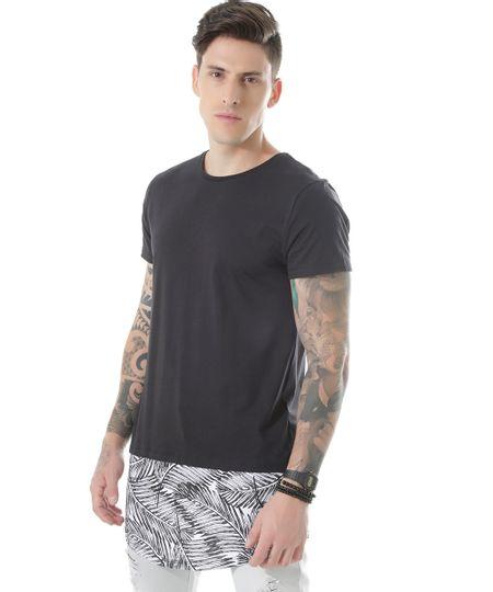 Camiseta Longa com Estampa de Folhagem Preta