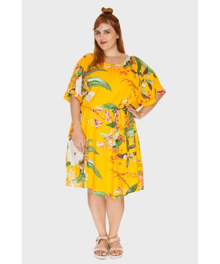 Vestido Amarração Floral Plus Size