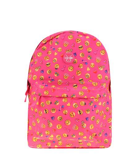 Mochila Estampada de Emojis Rosa
