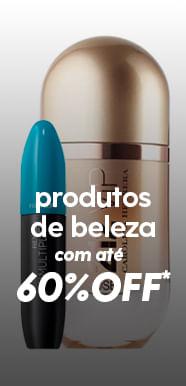 Até 60% OFF em produtos de beleza