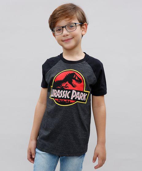 Camiseta-Infantil-Jurassic-Park-Raglan-Manga-Curta-Cinza-Mescla-Escuro-9541369-Cinza_Mescla_Escuro_1