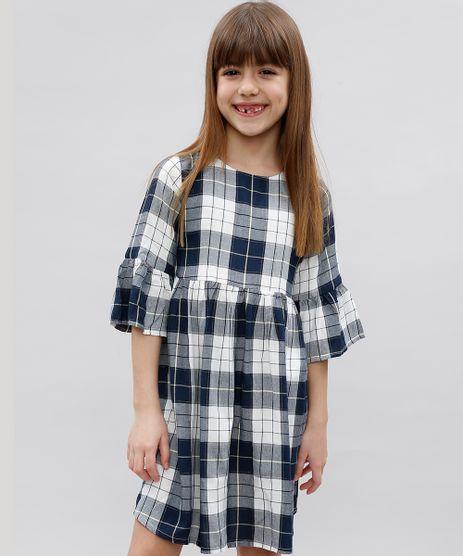 Vestido-Infantil-Estampado-Xadrez-com-Lurex-Manga-Longa-Azul-Marinho-9549420-Azul_Marinho_1