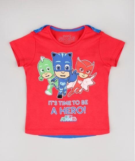 13406fb953 Camiseta Infantil PJ Masks com Capa Removível Manga Curta Vermelha - cea