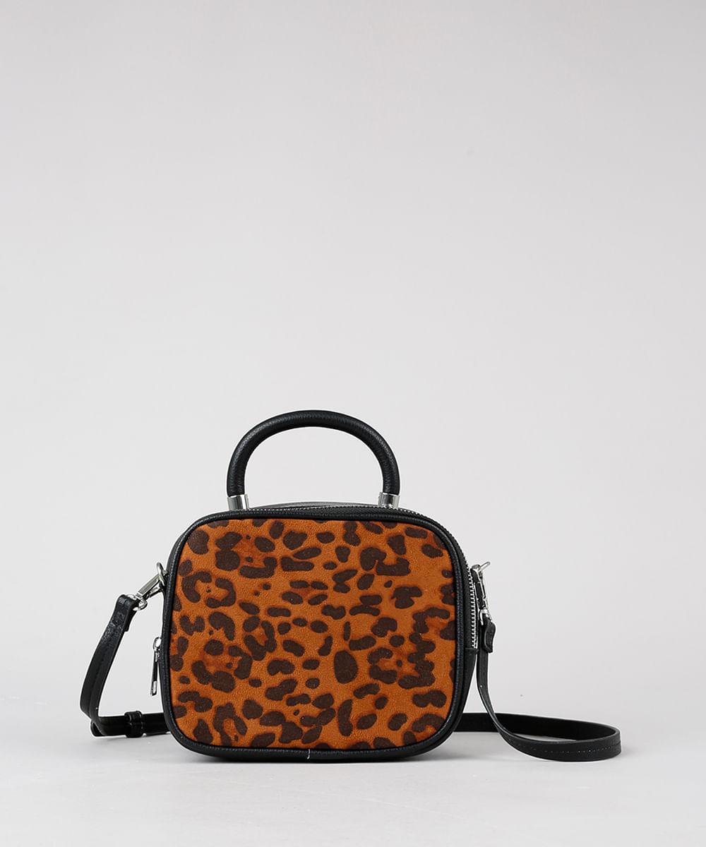 8d77157d3d Bolsa Feminina Pequena com Estampa Animal Print Alça Transversal Removível  Preta - Único