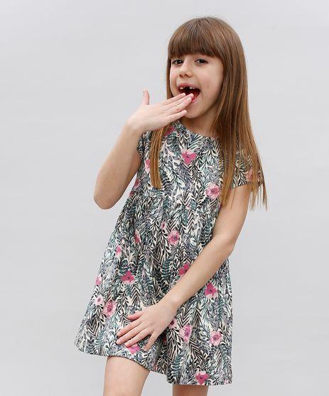 Vestido-Infantil-Texturizado-Estampado-Floral-Manga-Curta-Bege-Claro-9364779-Bege_Claro_1
