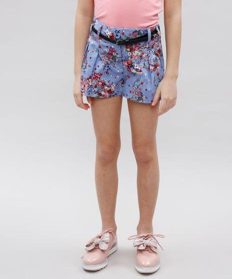 Short-Infantil-Estampado-Floral-com-Pregas-e-Cinto-Lilas-9364751-Lilas_1