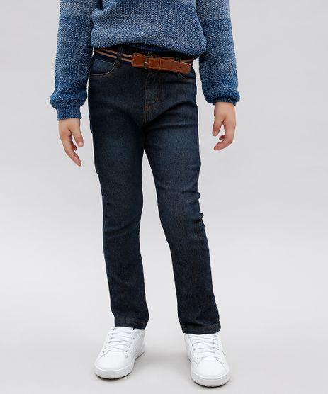 Calca-Jeans-Infantil-com-Bolsos-e-Cinto-Azul-Escuro-9549598-Azul_Escuro_1
