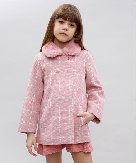 Casaco-Infantil-Estampado-Quadriculado-com-Pelo-Rosa-9431751-Rosa_1