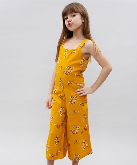 Macacao-Infantil-Pantacourt-Estampado-Floral-Sem-Manga-Mostarda-9559373-Mostarda_1