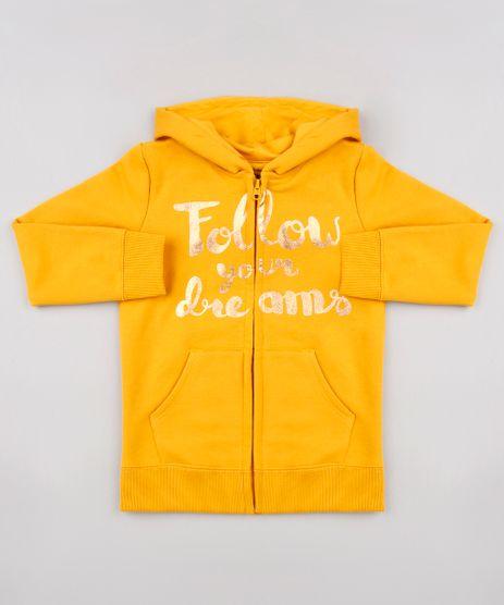 Blusao-Infantil--Follow-Your-Dreams--em-Moletom-com-Capuz-Mostarda-9565190-Mostarda_1