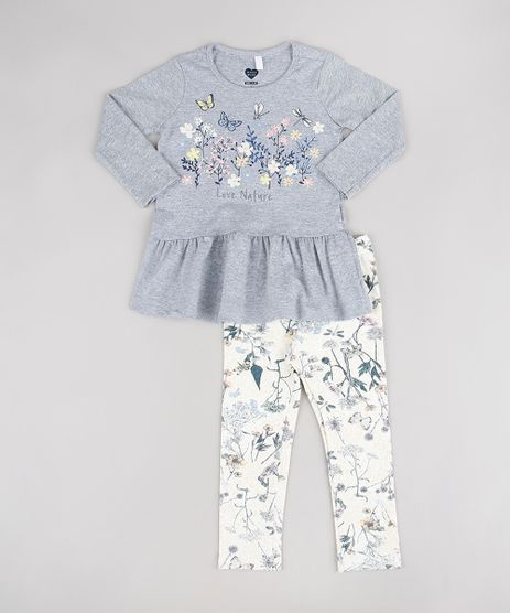 Conjunto-Infantil-de-Blusa--Love-Nature--Manga-Longa-Cinza-Mescla---Calca-Legging-Estampada-Floral-Off-White-9557597-Off_White_1