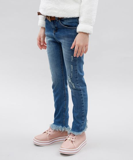Calca-Jeans-Infantil-com-Puidos-e-Cinto-Azul-Medio-9554906-Azul_Medio_1