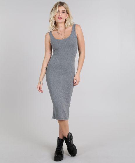 Vestido-Feminino-Midi-Canelado-com-Fenda-Alca-Larga-Cinza-Mescla-Escuro-9445876-Cinza_Mescla_Escuro_1