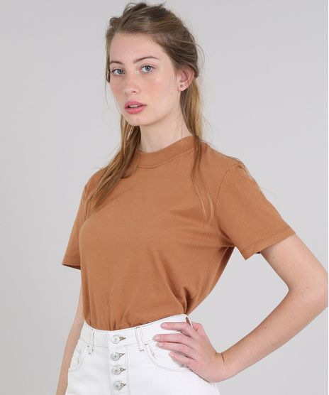 T-Shirt-Feminina-Mindset-Ampla-Manga-Curta-Decote-Redondo-Caramelo-9621485-Caramelo_1
