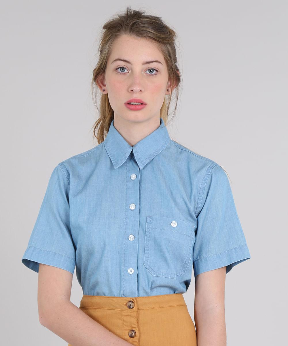 c2487017b7bf44 Camisa Jeans Feminina Mindset com Bolso Manga Curta Azul Claro - cea