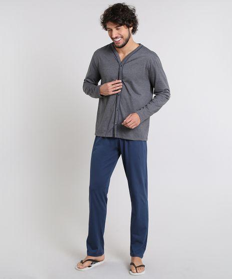 Pijama-Masculino-com-Botoes-Manga-Longa-Cinza-Mescla-Escuro-9556243-Cinza_Mescla_Escuro_1