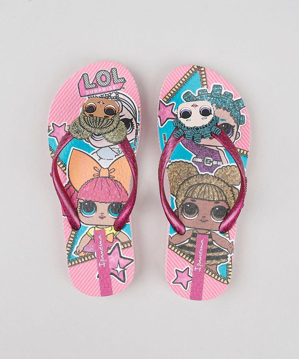 e3ddc096632329 Chinelo Infantil Ipanema Lol Surprise Estampado com Glitter Rosa Claro