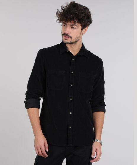 Camisa-Masculina-em-Veludo-Cotele-com-Bolso-Manga-Longa-Preta-9383072-Preto_1