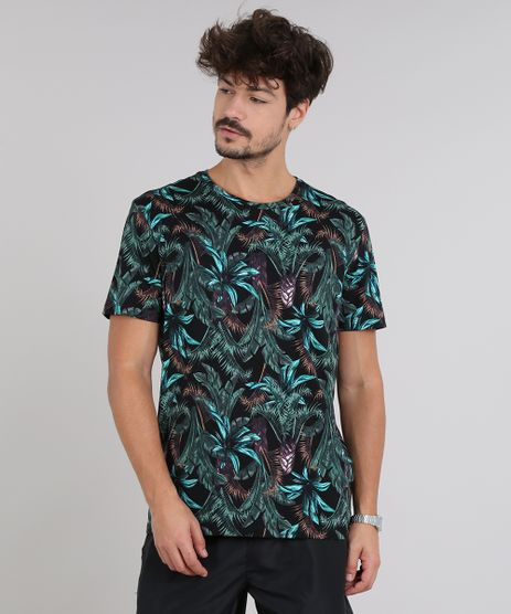 Camiseta-Masculina-Estampada-de-Folhagem-Manga-Curta-Gola-Careca-Preta-9511113-Preto_1
