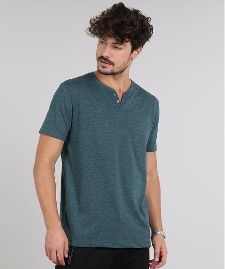 Camiseta-Masculina-Basica-com-Botoes-Manga-Curta-Gola-Careca-Verde-9555552-Verde_1