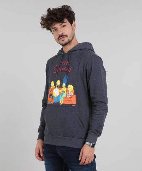Blusao-Masculino-Os-Simpsons-em-Moletom-com-Capuz-Cinza-Mescla-Escuro-9572308-Cinza_Mescla_Escuro_1