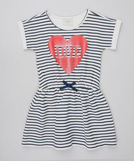 Vestido-Infantil-Listrado-em-Moletom-com-Laco-Manga-Curta-Off-White-9587786-Off_White_1