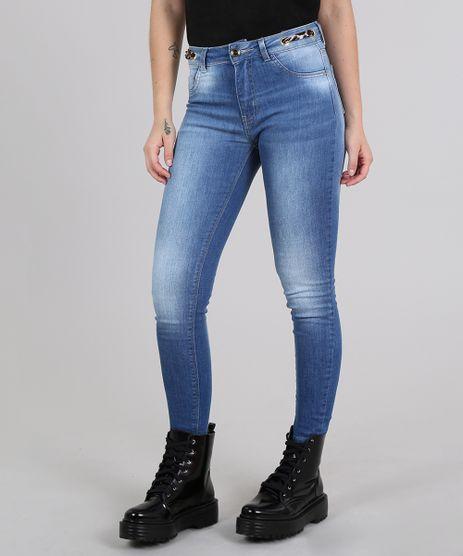 Calca-Feminina-Sawary-Skinny-Cropped-com-Faixa-Animal-Print-Azul-Medio-9617990-Azul_Medio_1