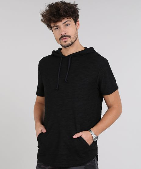 Camiseta-Masculina-em-Moletom-Flame-com-Bolso-e-Capuz-Manga-Curta-Preta-9314848-Preto_1