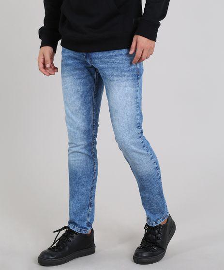 Calca-Jeans-Masculina-Slim-com-Bolsos-Azul-Medio-9602635-Azul_Medio_1